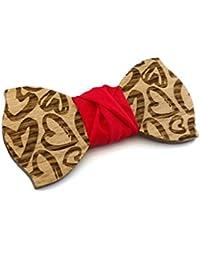 GIGETTO Papillon in legno fatto a mano con nodo in stoffa rosso. Farfallino artigianale. Cinturino regolabile. Limited Edition PATTERN