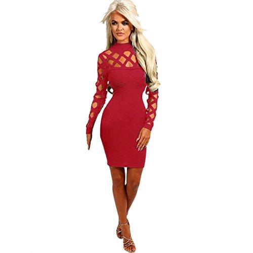 Rcool Frauen Halsband Stehkragen Party figurbetonten Kleid eingesperrt lange Ärmel Slim Dress (L, (Slim Kostüm Zara)