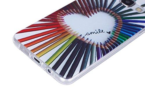 Galaxy A5 2016 Soft Silicone Tpu Coque Mode,Transparent Coque pour Samsung Galaxy A5 (2016),Ekakashop Ultra Mince Jolie Sombre Chat Design Souple imprimée Etui Housse de protection Cristal Clair Gel C Crayons Amour