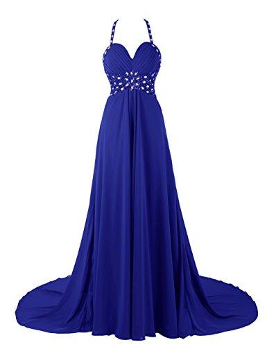 Dresstells, Robe de soirée de mariage/cérémonie/mère de mariée bretelles spaghetti forme empire traîne moyenne avec emperler sequins Bleu Saphir