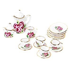 Gazechimp 15PCS 1:12 Puppenhaus Möbel Miniatur Porzellan Tee-Set Teekanne Tea cups Untertassen Zuckerdose Milchbehälter Geschirr