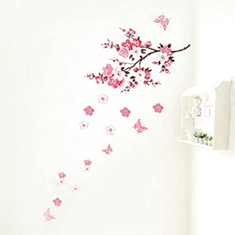 Fairy Season Wall Art Sticker Pink Peach Flowers Wall Decal for Living Room Bedroom Kitchen