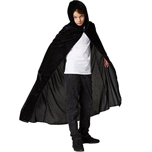 Mystische Kostüm Erwachsene Für Zauberer - dressforfun 900369 - Mystischer Umhang mit Kapuze für Kinder, ärmelloser, Langer Umhang mit spitzzulaufender Kapuze (Schwarz, 92 cm)