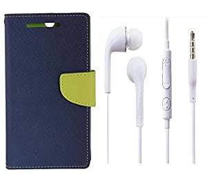 Novo Style Book Style Folio Wallet Case Samsung GalaxyJ2 Blue + Earphone / Handsfree with 3.5mm jack