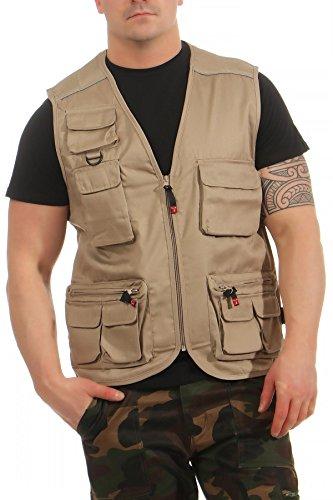 Mivaro Herren Safari-Weste mit vielen praktischen Taschen, funktionale Arbeitsweste, Outdoor-Weste, Größe:M, Farbe:Beige -