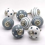 Juego de 8tradicional gris porcelana cerámica China pomos para armarios armario cajones tiradores de puerta