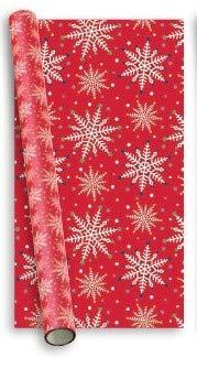 10m (2 x 5m) moderne Weihnachten Geschenkpapier - Classic Gold weißen Schneeflocke