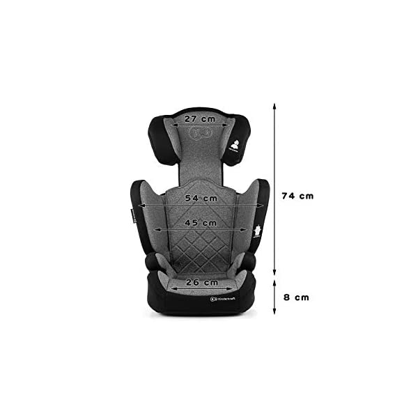 Kinderkraft Car Seat XPAND Child's Booster Seat with System ISOFIX Adjustable Headrest Side Protection Group II/III (15-36kg) to 12 Years Crashtested Safety Certificate Intertek and ECE R44/04 Gray kk KinderKraft Car Seat - The Xpand car seat ensures safety during every journey. Secure - Equipped with fixing system ISOFIX, which guarantees a stable and safe position for your child. Alternatively, secure with car seat belts. Comfort - The wide, deep seat provides comfort even during long hours of travel and the headrest adjustment allows parents to adjust the seat to each child. 8