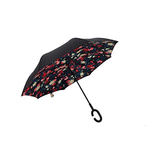 Autonorth Double Layer Reverse Outdoor Stick Umbrella Windproof Waterproof and Self Standing Inside Out Umbrella Best for Travelling and Car Using Color Bella Red