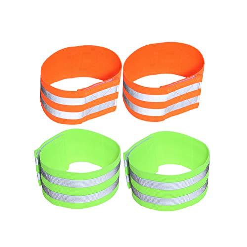 LIOOBO 4 Stück Reflektierende Gummiband Hohe Sichtbarkeit und Sicherheit Strap Armband Sport Zubehör