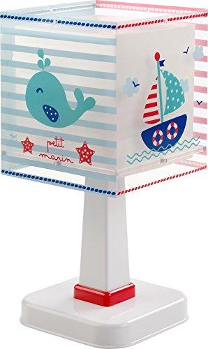 Dalber 43421 Petit Marin,lámpara de mesa pequeño marinero, plástico, azul, 13,5x 13,5x 29cm.