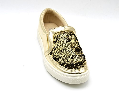 SHY28 * Baskets Tennis Sneakers Slip-On Simili Cuir Vernis avec Sequins Brillants et Semelle Compensée - Mode Femme Doré