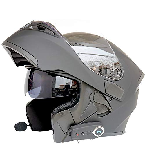 Nbzh caschi moto modulari bluetooth + fm dot certification flip up touring caschi auricolare bluetooth dual-speaker integrato con microfono per risposta automatica m-l59cm ~ 60cm,black,l