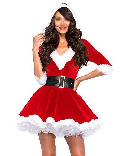 Vestite da Babbo Natale Donna Scollo A V Cosplay Costumi per Carnevale Feste  Rosso M 443983d7078