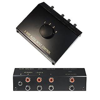 Audio AUX RCA Umschaltbox Schalter Controller Switch Splitter / 1 3,5mm Klinke IN / 3 L-R Cinch IN 1 Cinch Out/Schwarz