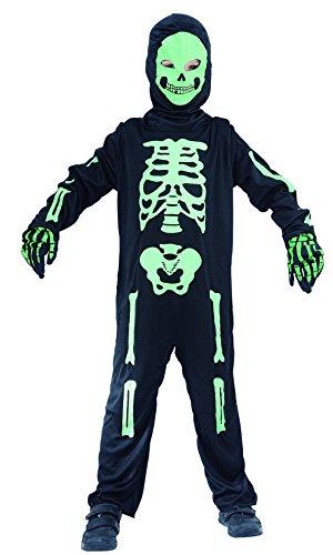 Skelett Kostüm für Kinder Halloween schwarz-grün mit Maske und Handschuhen- Kostüm Skelett Jungen (Kostüme Skelett)