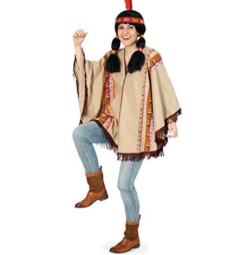 KarnevalsTeufel Erwachsenenkostüm Western Poncho in beige mit gemusterter Borte und braunen Fransen Indianer Überwurf in Einheitsgröße (Braune Western Für Erwachsenen Poncho Kostüm)