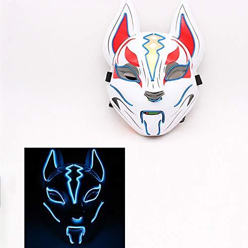 BYOUQ Halloween Maske,festung Night Sky Fox Glühende Maske,Schwamm Kopfkissen LED Maske Purge Maske,kaltes Licht 3 Beleuchtungsmodi Horror Kostüm Karneval Weihnachtsdekoration (Auto Fox Kostüm)
