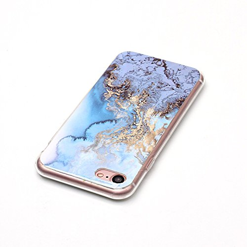 iPhone 7 Plus Hülle Silikon, LuckyW TPU Marmor Handyhülle für Apple iPhone 7 Plus/7S Plus(5.5 zoll) Soft Silikon Tasche Transparent Schale Clear Klar Hanytasche Durchsichtig Rückschale Ultra Slim Thin Blau