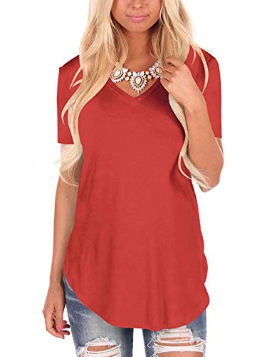 Women V Neck solid Color Tops Plus Size Loose Short Sleeve T-Shirt Women's Streetwear Casual Tshirt orange L -