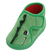 SlumberzzZ Boys Toddler Dinosaur Bootie Slippers Green
