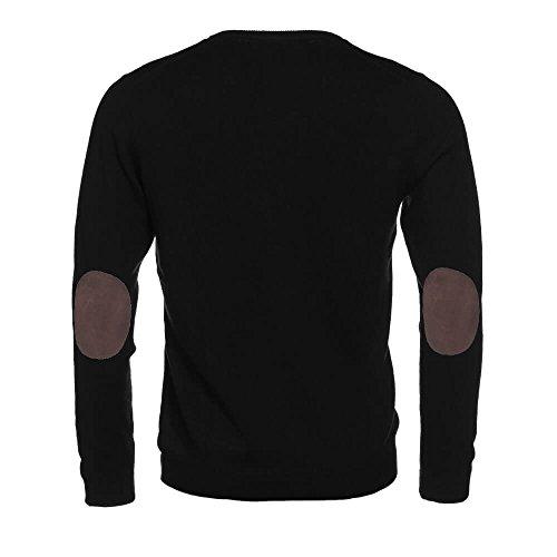 ALLBOW Herren Pullover mit Ellenbogenpatches, Schwarzer V-Ausschnitt Pullover, XXL