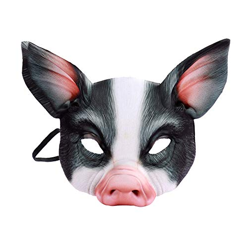 Renendi Halloween Requisiten Alf Tier Schwein Gesichtsmaske mit Ohren Maskerade Cosplay Party Bars Kostüm Erwachsene Dekoration Schwarz