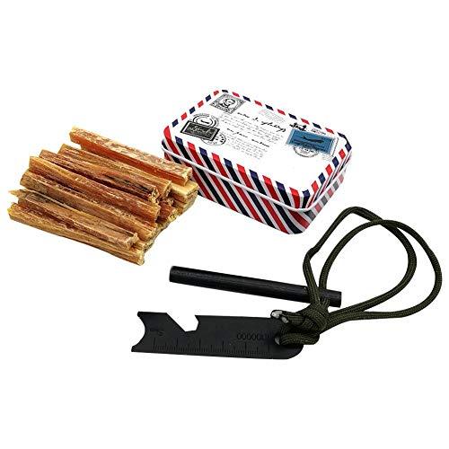 mollylover Outdoor Feuer Starter Kit, Kiefer Fackeln Magnesium Rod Eisen Box Set Camping Feuer Starter Set, Original Feuer Starter Kit Überleben - Magnesium-rod