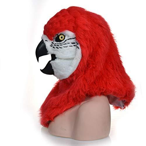 Halloween Maßgeschneiderte Kostüm - LZY Masken Erwachsenen Halloween Kostüm Realistische Handarbeit Maßgeschneiderte Cosplay Beweglichen Mund Maske Roter Papagei Pelzigen Simulation Tier Maske,rot