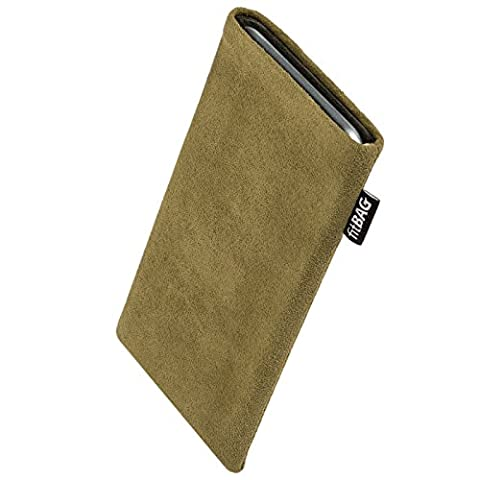 fitBAG Classic Khaki custom tailored sleeve for E-Ten Glofiish M700. Genuine Alcantara pouch with integrated MicroFibre lining for display cleaning