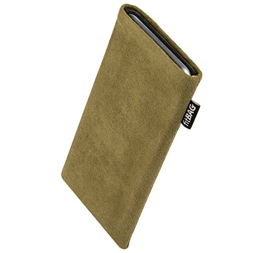 Price comparison product image fitBAG Classic Khaki custom tailored sleeve for ARCHOS 50b Platinum / Made in Germany / Genuine Alcantara pouch case cover with MicroFibre lining for display cleaning