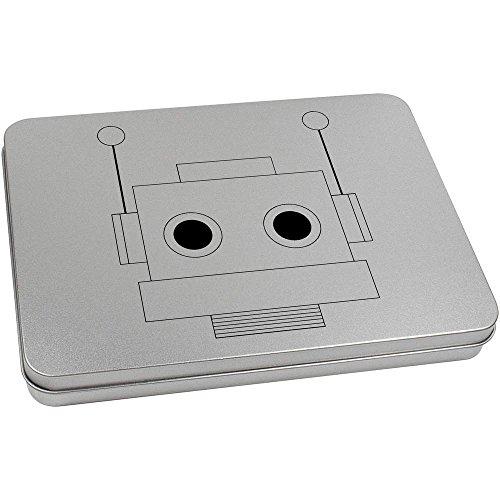 Azeeda 220mm x 160mm 'Cabeza del Robot' Caja de Almacenamiento / Lata de Metal (TT00073294)