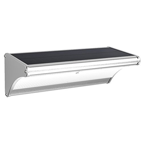 LED Solarleuchte mit Bewegungsmelder Außenleuchte Aluminum Gehäuse, 900Lumen super hell, mit Radarsensor 360° Erfassungswinkel, IP65 Wasserdicht, 4 Modi für Garten Hof