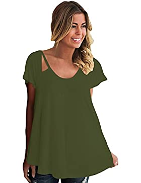 Camiseta de tirantes de hombros fríos con diseño de flores, color verde oliva, talla L