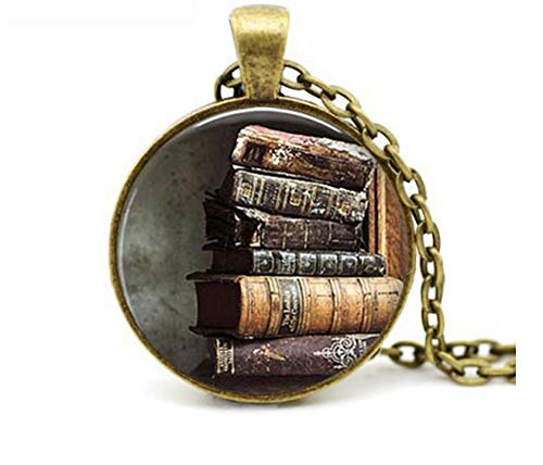 GUHUA Trendy Stapel von antiken Büchern Anhänger Halskette Vintage Buch Schmuck Glas Cabochon Anhänger Geschenk für Leser oder Schriftsteller -
