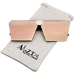 AMZTM Mode Platz Verspiegelt Linsen überdimensioniert Polarisiert Rosa Sonnenbrille für Damen
