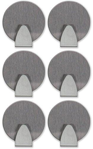 maliveo Klebehaken Handtuchhaken rund aus gebürstetem Edelstahl, selbstklebend und rostfrei, Gaderobe-Haken, Kleiderhaken, Wand-Haken (6er-Pack)