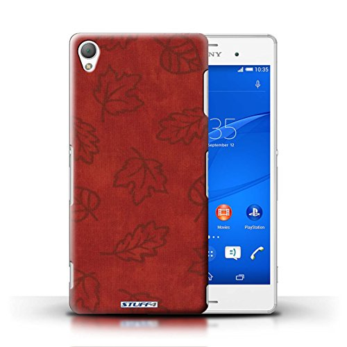 Kobalt® Imprimé Etui / Coque pour Sony Xperia Z3 / Jaune conception / Série Motif Feuille/Effet Textile Rouge