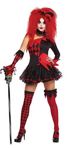 Jesterina Clown-Kostüm, für Damen, perfekt für Halloween oder ()