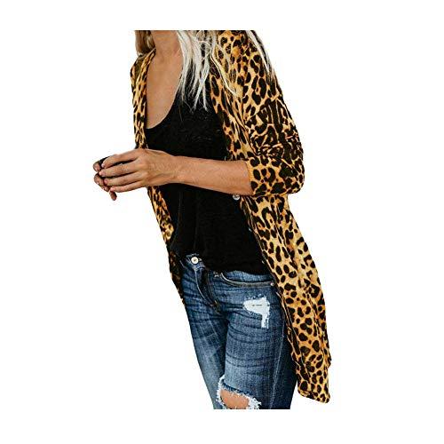 iHENGH Damen Herbst Winter Bequem Lässig Mode Frauen Langarm Leopard Print Mode Mantel Blusen T Shirt Tank Tops(M,Gelb)