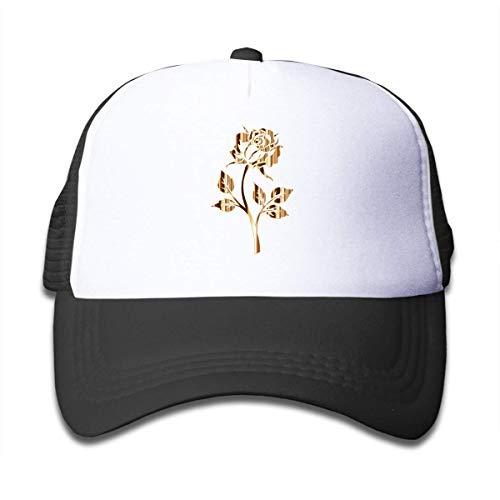 JJIAYI Gold Rose Flower Mesh Back Caps Trucker Baseball Hats for Boys Adjustable - Striped Mesh Back Cap