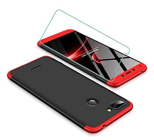 Joytag Funda Xiaomi Redmi 6 360 Grados Rojo Negro Ultra Delgado Todo Incluido Caja del teléfono de la protección 3 en 1 Case+Protectora de película de Vidrio Templado Rojo Negro