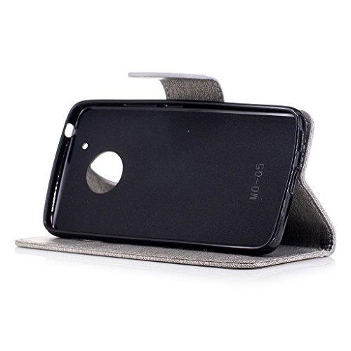 Yiizy Motorola Moto G5 Custodia Cover, Fiore Di Farfalla Design Sottile Flip Portafoglio PU Pelle Cuoio Copertura Shell Case Slot Schede Cavalletto Stile Libro Bumper Protettivo Borsa (Grigio) Grigio