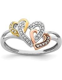 Anillo de plata de ley 925 con 3 corazones de diamante para mujer (0,