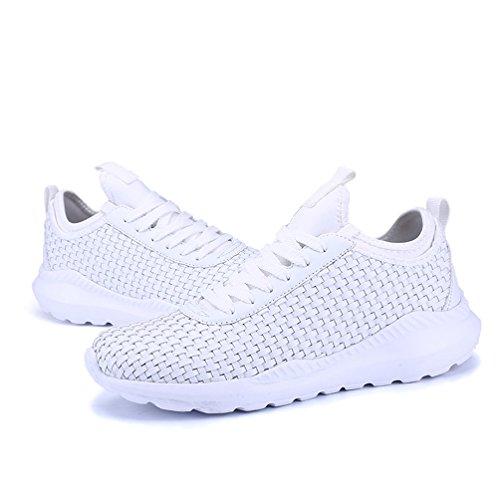 AFFINEST Sportschuhe Herren Damen Laufschuhe Sneakers Turnschuhe Casual Atmungsaktives Sport Fitnessschuhe Trainers Schuhe Running Outdoorschuhe Schwarz Weiß Weiß