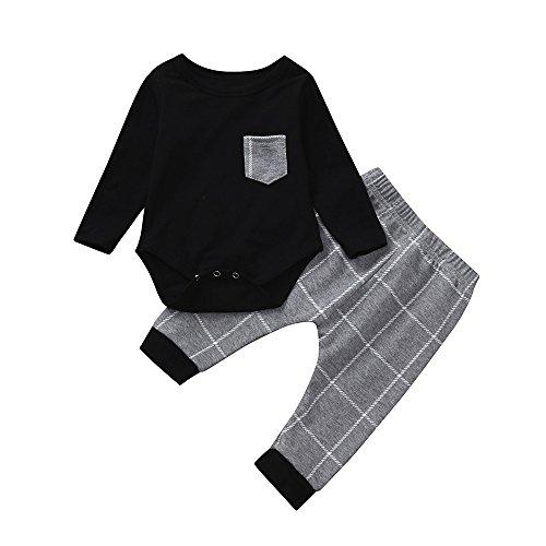 (Yanhoo Kinderkleidung, Kindermode Jungen Baby Langarm Kariertes Print Bodysuit Strampler Overall Top Kleidung + Hosen Zweiteiler Babykleidung Outfits)