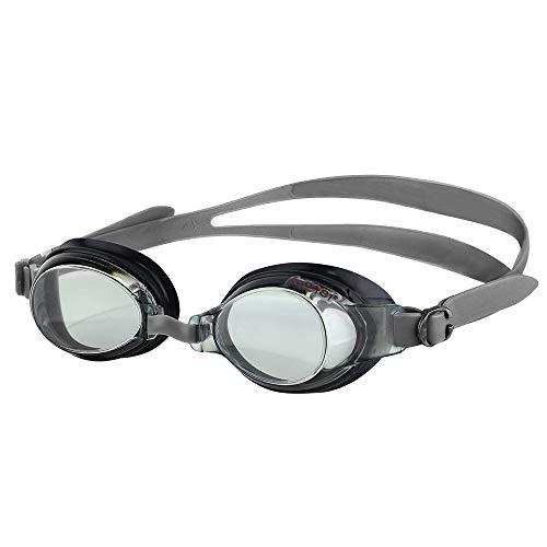 KONA81 Optische Schwimmbrille mit Sehstärke für Damen und Herren, 100% UV-Schutz, Anti-Beschlag-Beschichtung, Wasserdicht #71395 (Silber, Verschiedene Sehstärke (In Nachricht Angeben))