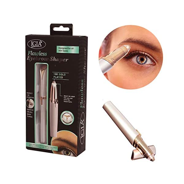 Igia Painless Precision Eyebrow Shaper Brow And Face Hair Remover With Hypo Allergenic 18K Gold Plated Tip Built In LED Light Dermatologist Approved