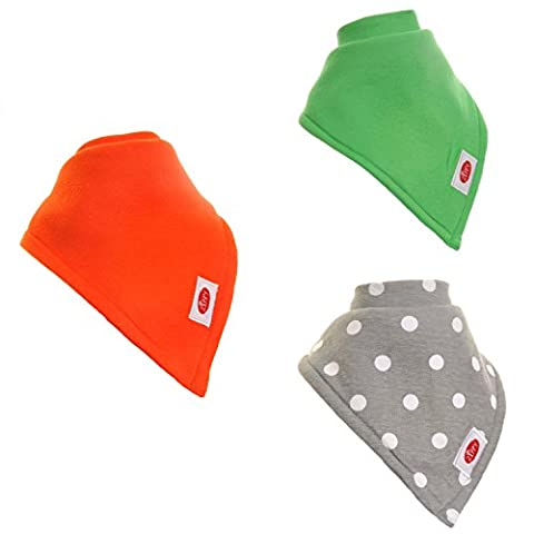 Zippy Large Absorbent Bandana Bib for Children and Adults - Absorbent 100% Cotton Front Dribble Bibs with Adjustable Straps (3 Pack Gift Set) Unisex Bright