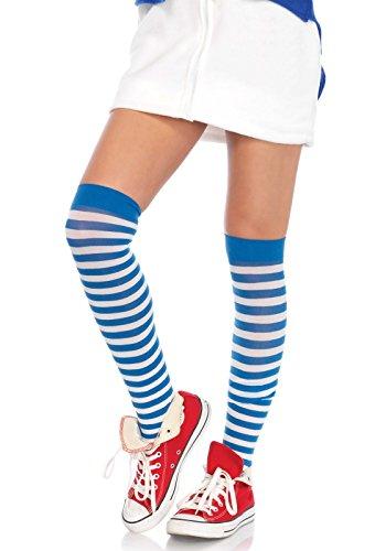 LEG AVENUE 6005 - Overknee Halterlose Strümpfe Mit Streifen, Einheitsgröße (EUR 36-40), blau/weiß, Damen Karneval Kostüm Fasching